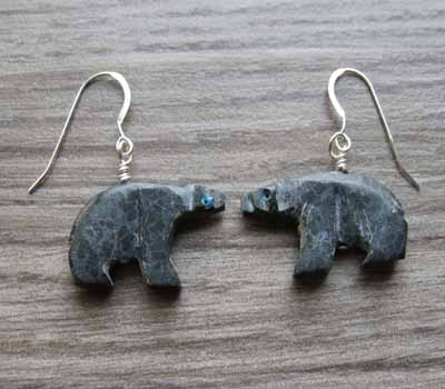 Carved marbe bear earrings