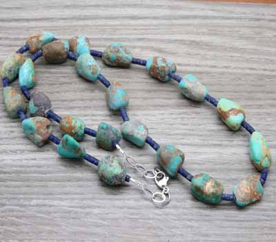 Gemstone Matte Turquoise and Lapis Necklace