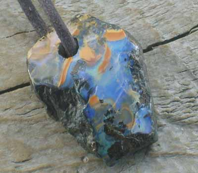 Boulder Opal Pendant on Leather Cord 3- large