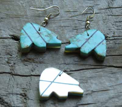 Jewelry Set Earrings and Pendant Turquoise & MOP Inlay