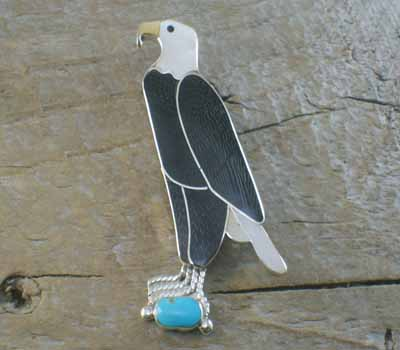 Zuni Eagle Inlay Pin/Pendant