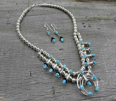Native American Squash Blossom Necklace/ Earring Set