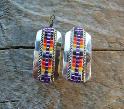 Indian Silver and Bead Earrings Post A
