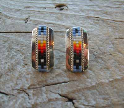 Indian Silver and Bead Earrings Post G