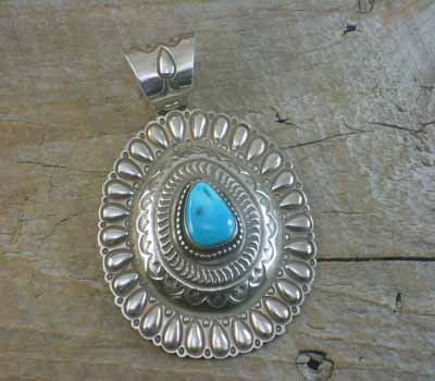 Hammered Silver & Turquoise Pendant - Large