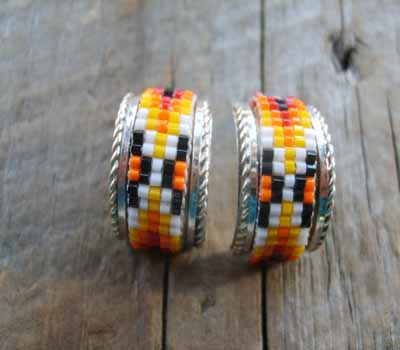 Indian Silver and Bead Earrings Half Hoop E