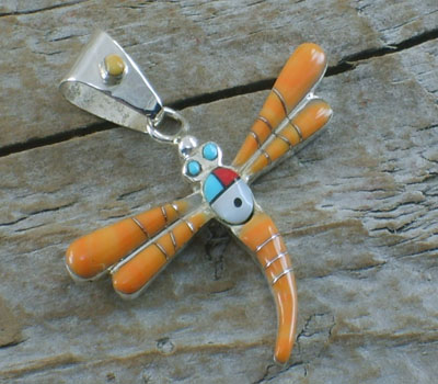 Orange Spiny Oyster Inlay Dragonfly Pendant