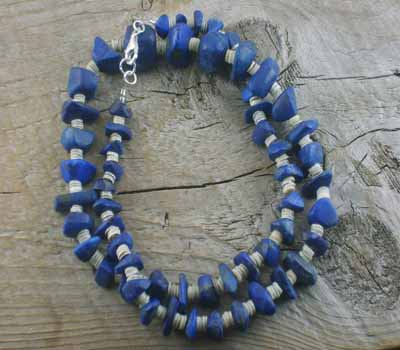 Lapis and Grey Oyster Shell Necklace