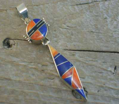 American Indian Pendant-Lapis/Spiney