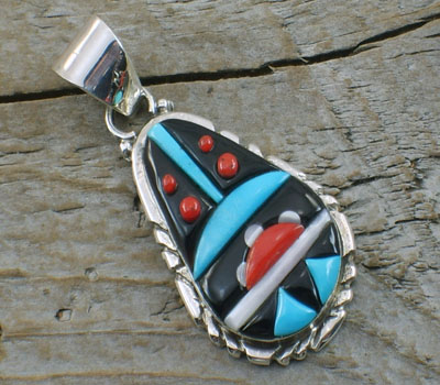 Native American Zuni Jet Inlay Drop Pendant