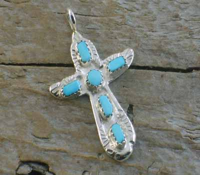 American Indian Turquoise Cross Pendant