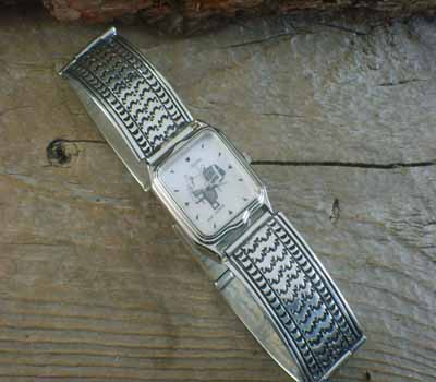 Native American Sterling Link Watch - Hand Stamped