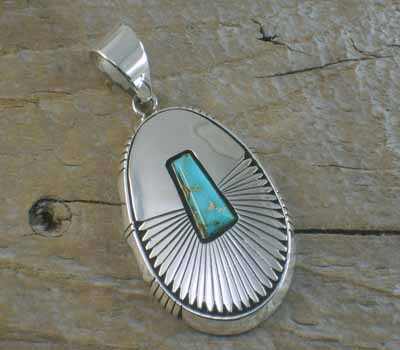Sterling Silver & Turquoise Pendant -Royston Turquoise