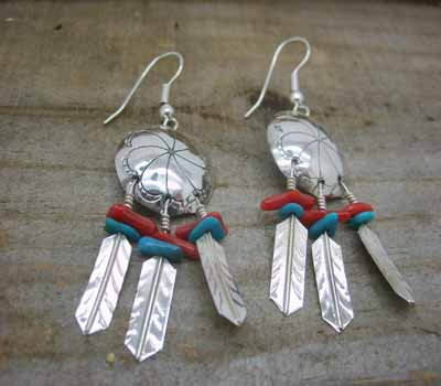 American Indian Silver War Shield Earrings Turquoise Coral