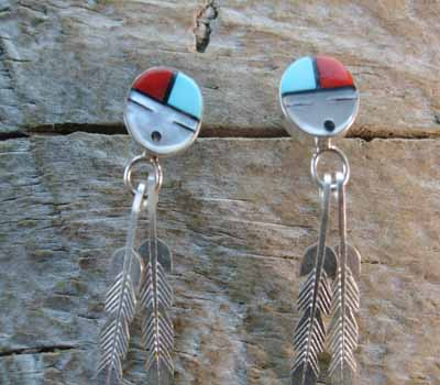 Indian Inlay Sunface Feather Earrings