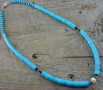 Necklace Turquoise, Jet and Sterling Heishi