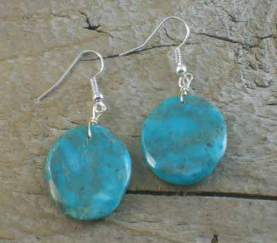 American Indian Earrings - Turquoise Round Slab