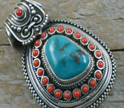 Turquoise Jewelry Turquoise& Coral Pendant