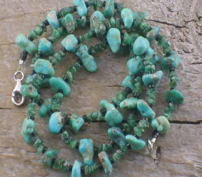 Fox Turquoise and Emerald Necklace