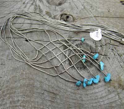 Liquid Silver and Turquoise Necklace - Vintage